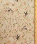 Rabbits in the Flowers Fabric UK 80% Cotton 20% Poly material upholstered feel - Price Per Metre